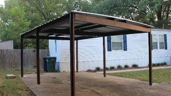 Commercial grade steel red iron carport