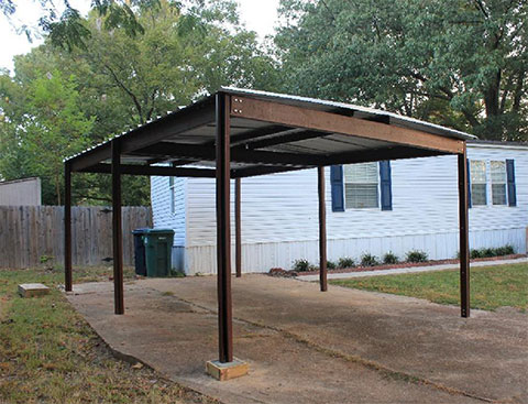 Commercial grade steel red iron carport