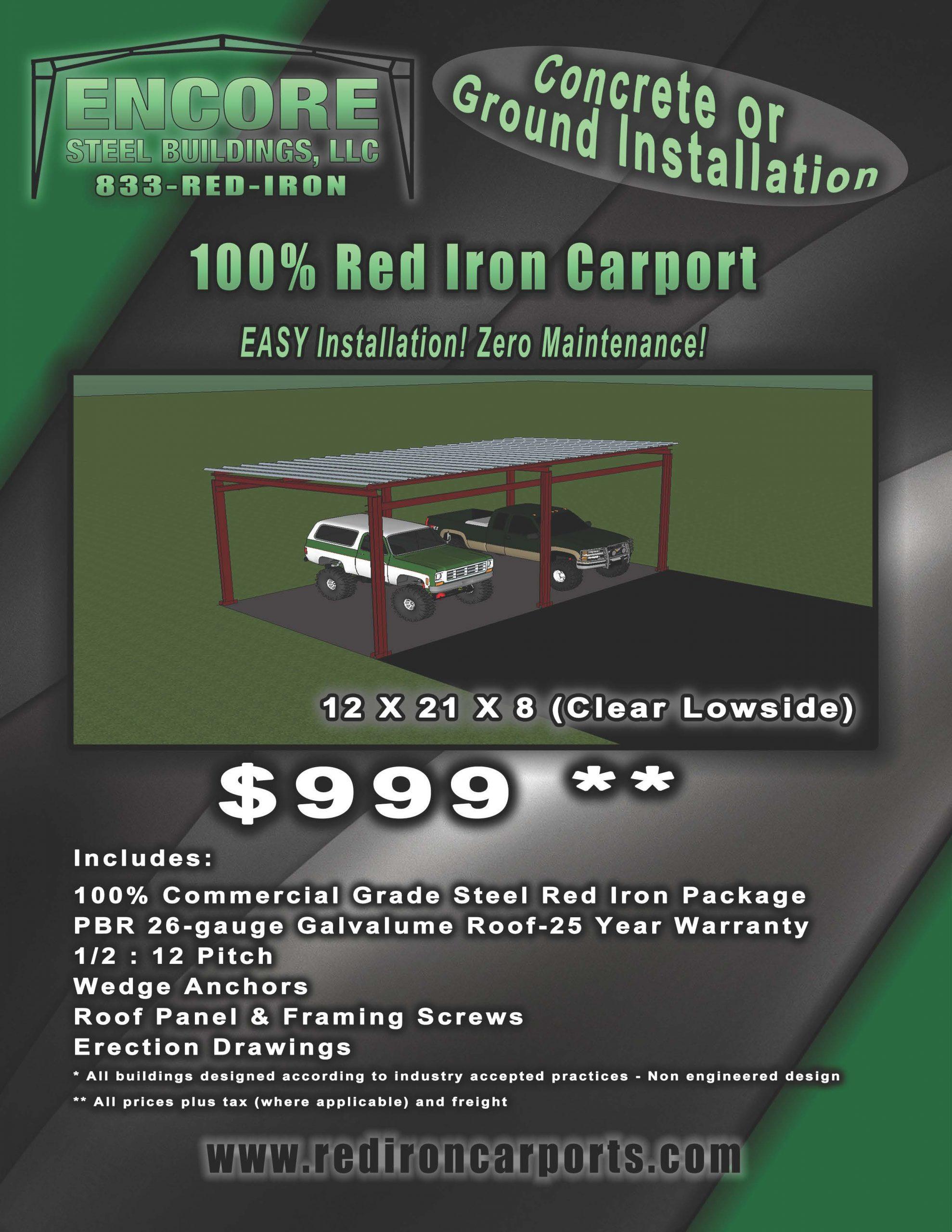 Metal Carport Kits 100 Red Iron Easy Installation And Zero Maintenance