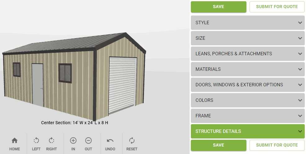 ENCORE ULTRA MINI 14′ x 24′ x 8′ with link to Encore Building Designer App